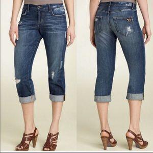 Joe's Cropped Ex-Lover Dark Distressed Jeans Sz 26